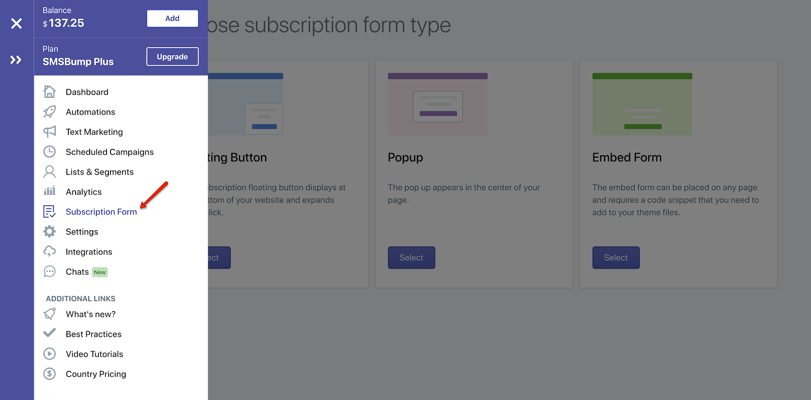 SMSBump_side_menu_form_type