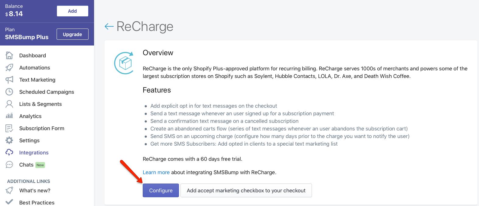 smsbump-recharge-configure-app