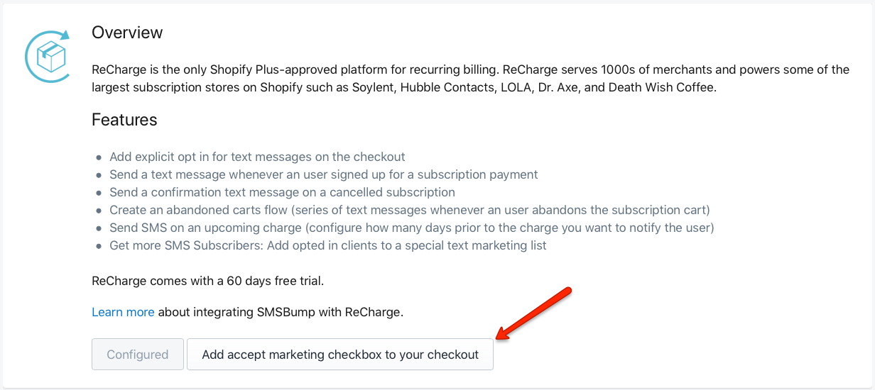 Add the SMSBump Accept Marketing Checkbox for Recharge Shopify Checkout