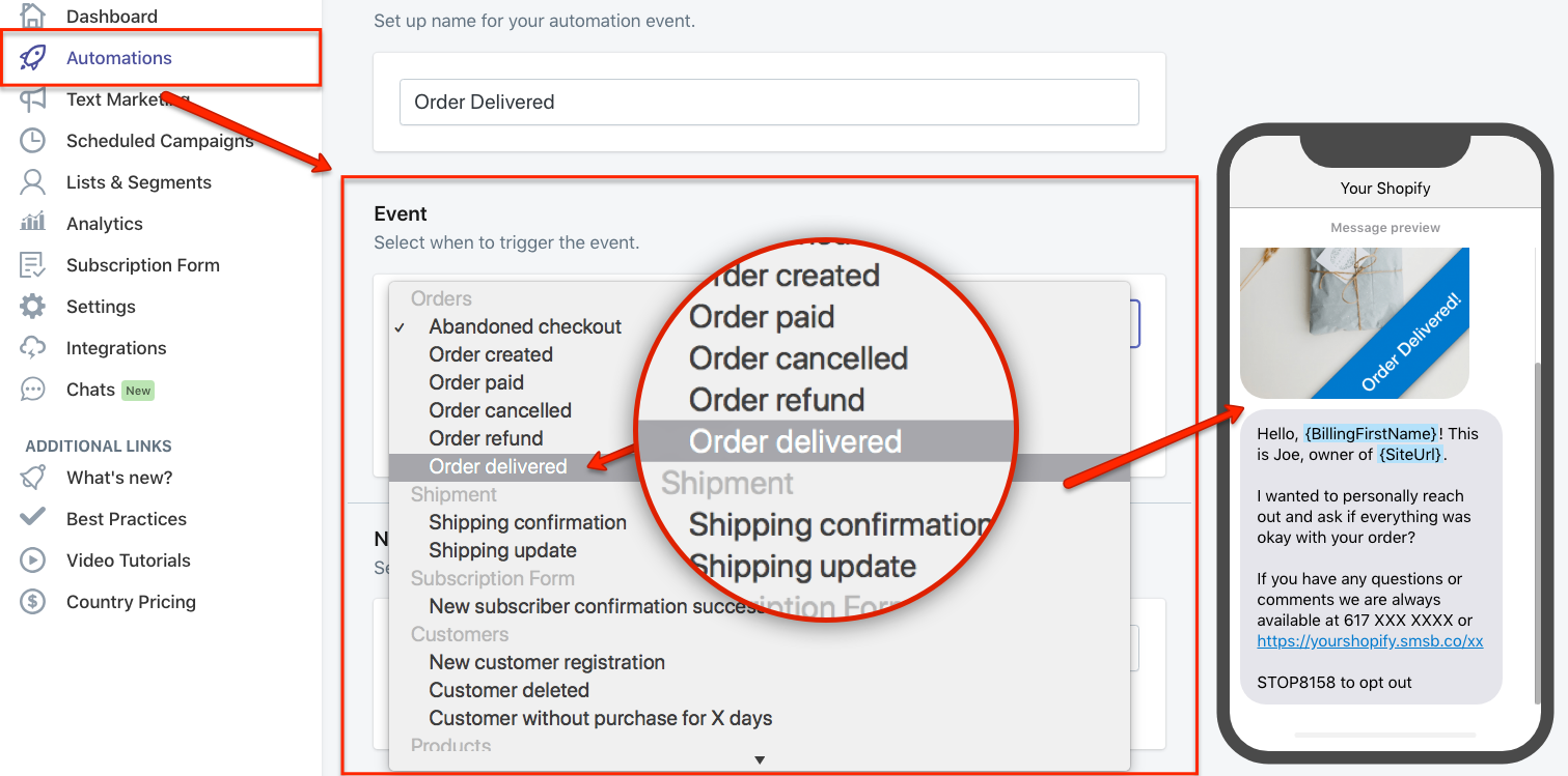 Order Delivered SMS Automation in Shopify