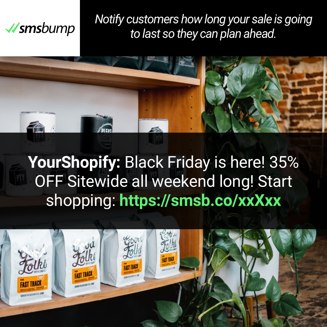 Shopify BFCM SMS Marketing Idea