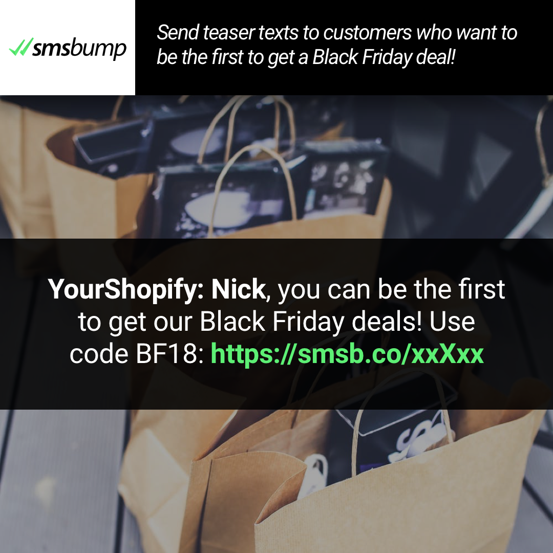 Shopify BFCM SMS Marketing Idea One