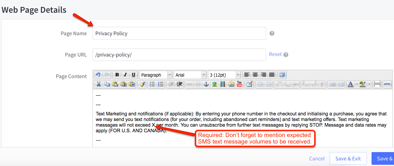 BigCommerce Privacy Policy SMS Marketing Compliance