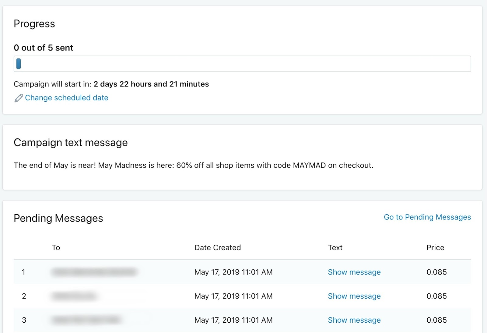 SMSBump Scheduled Campaigns | Text message sending progress