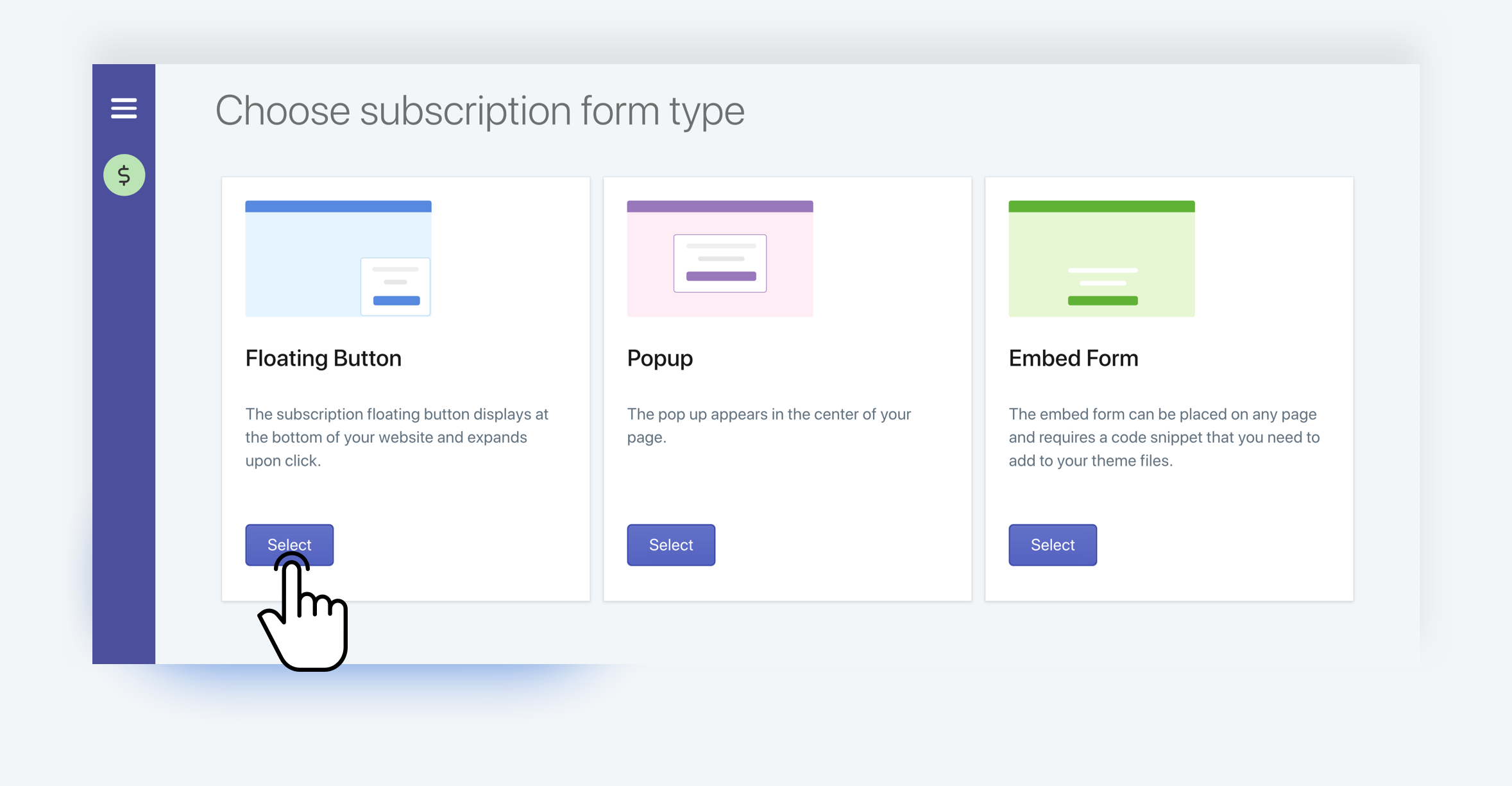 SMSBump: Select Floating Button in Subscription Forms for Shopify