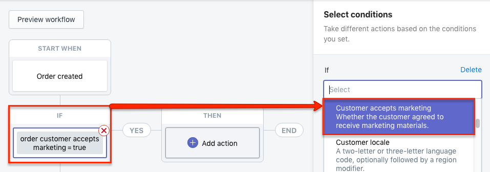 Shopify Flow Condition Customer accepts marketing