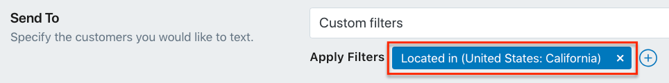 Target Audience Filter Applied to SMS Marketing Campaign in Shopify