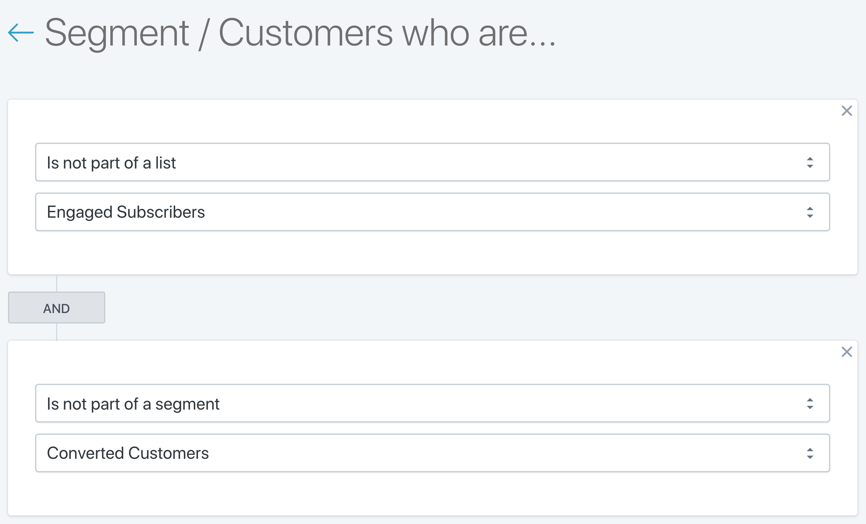 Customers who are not part of a contact list or segments