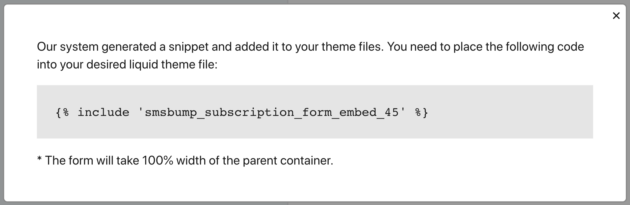 SMSBump Signup Form Embed Code