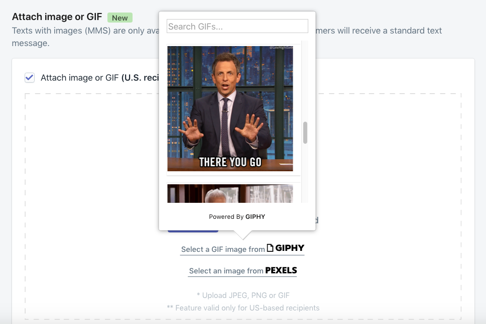 Add Giphy GIF to SMS marketing automations in Shopify.