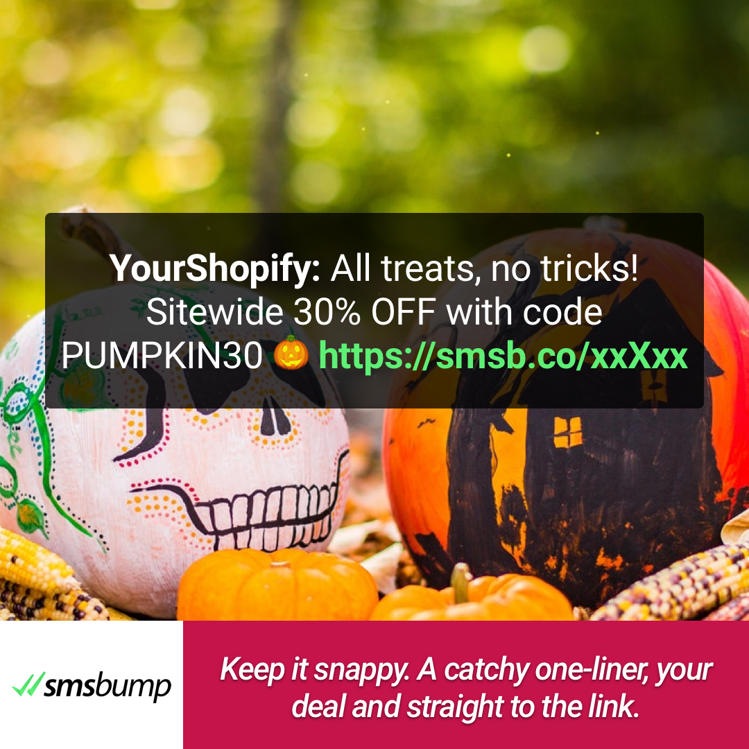 Keep it snappy. A catchy one-liner, your deal and straight to the link.