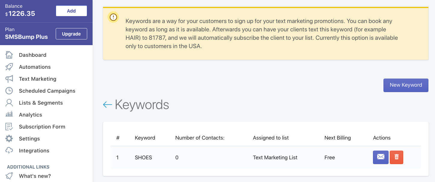 SMS Keywords Shopify