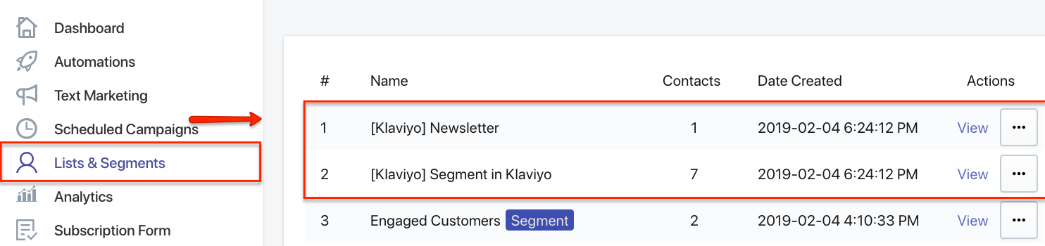 SMSBump Lists & Segments with Klaviyo Imported Contacts.