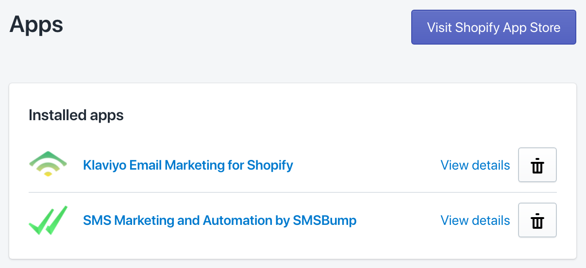 SMSBump and Klaviyo apps installed in Shopify.