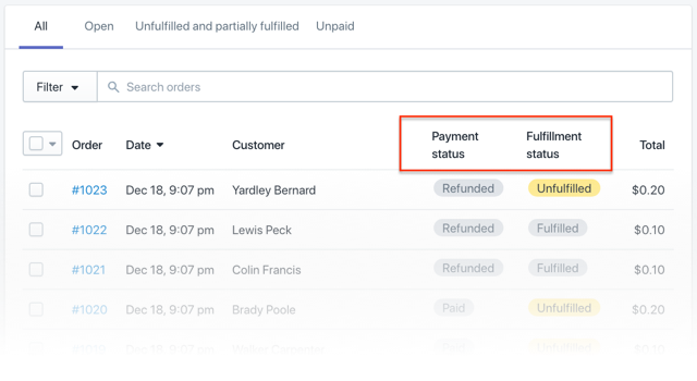 Shopify Order and Payment Statuses