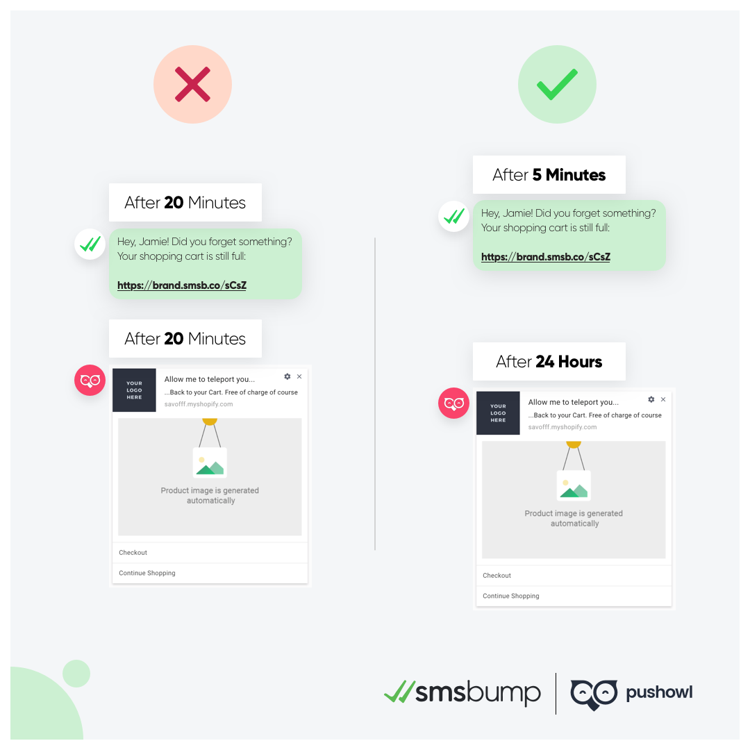 PushOwl and SMSBump Partnership: Combine SMS marketing and Push notification automations with smart timing.
