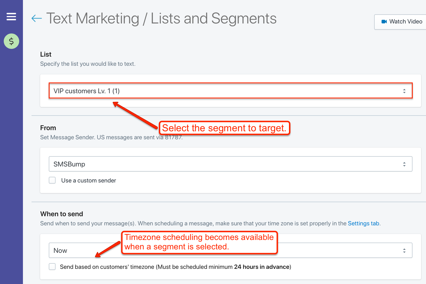 Enable timezone scheduling for segment-based marketing campaigns.