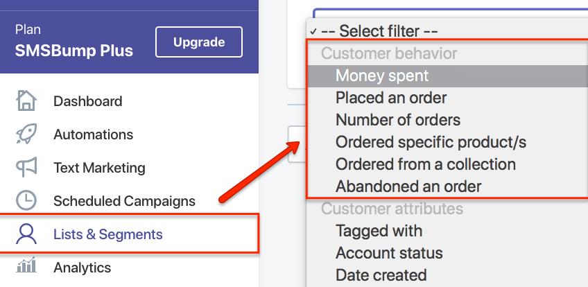 SMSBump Customer Segments in Shopify