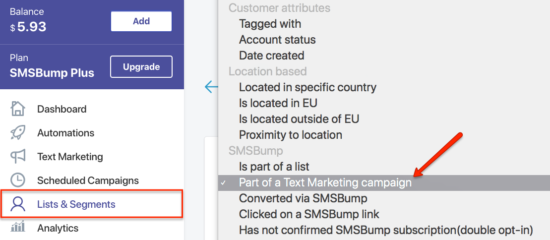 SMSBump Audience Segments in Shopify