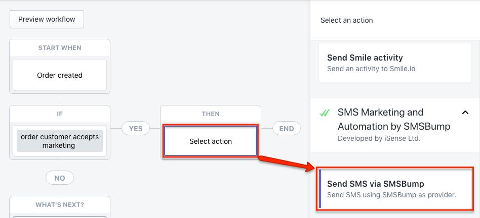 Shopify Flow Action Send SMS via SMSBump