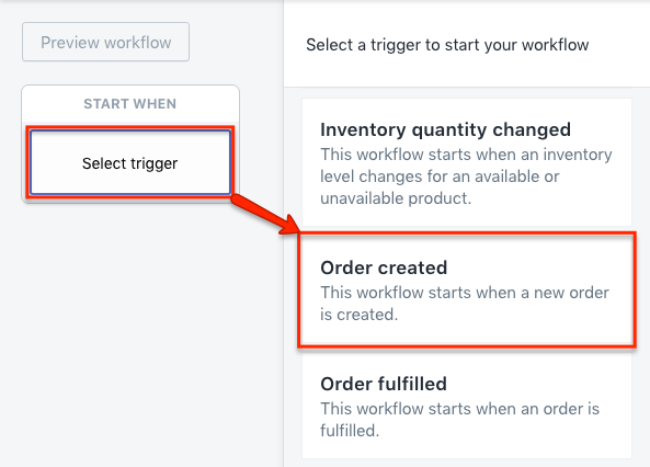 Shopify Flow trigger order created