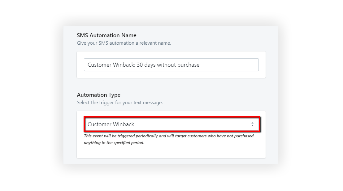 Select a Customer in the Customer Winback Automation