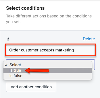 Shopify Flow Condition Order customer accepts marketing is true