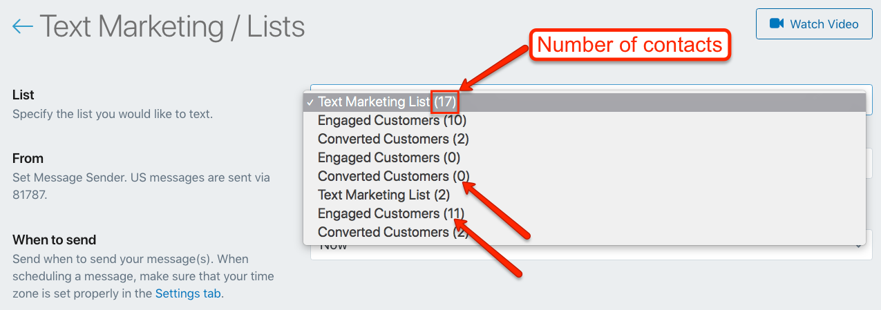 Shopify Subscriber Number of Contacts in SMSBump List