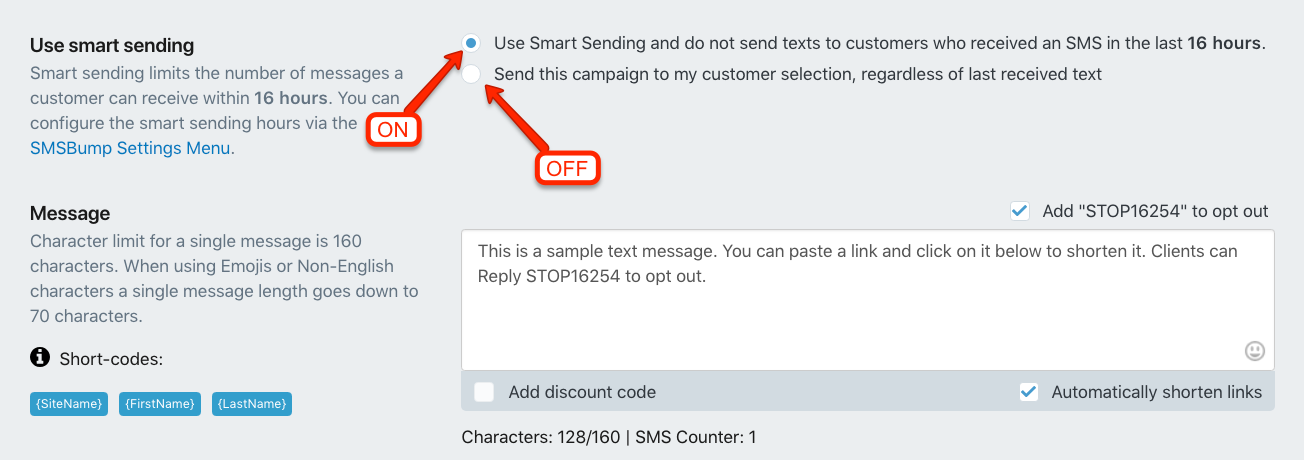 Enable and Disable Smart Sending for Marketing SMS