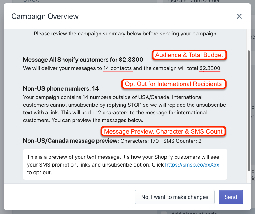 SMSBump Text Marketing Campaign Overview in Shopify