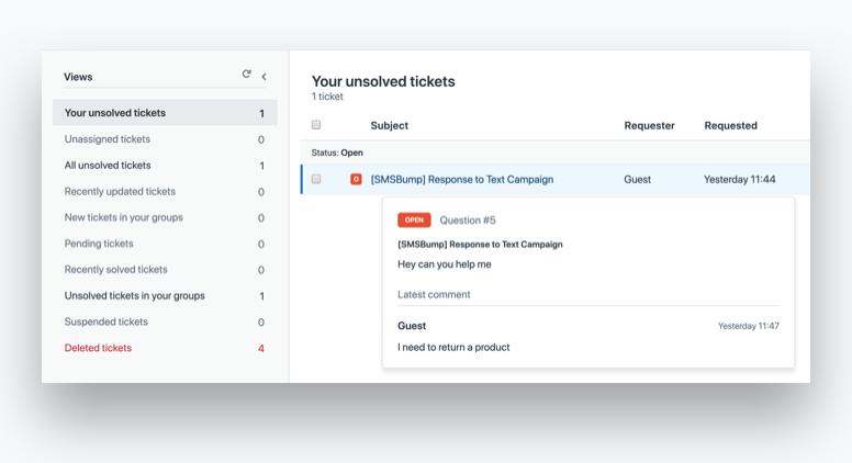 SMS Chat ZenDesk integration for Shopify