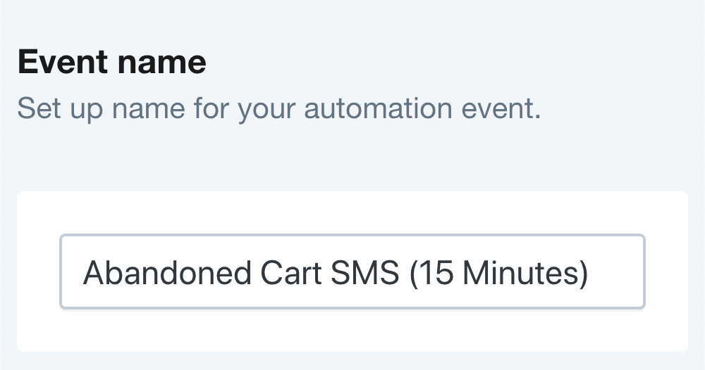 SMSBump Abandoned Cart SMS Setup - Automation Name in Shopify