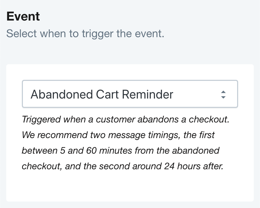 SMSBump Abandoned Cart Reminder SMS Automation Trigger in Shopify
