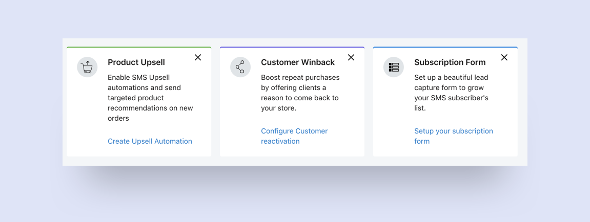 SMSBump Dashboard: Suggested actions to get started with SMS Marketing