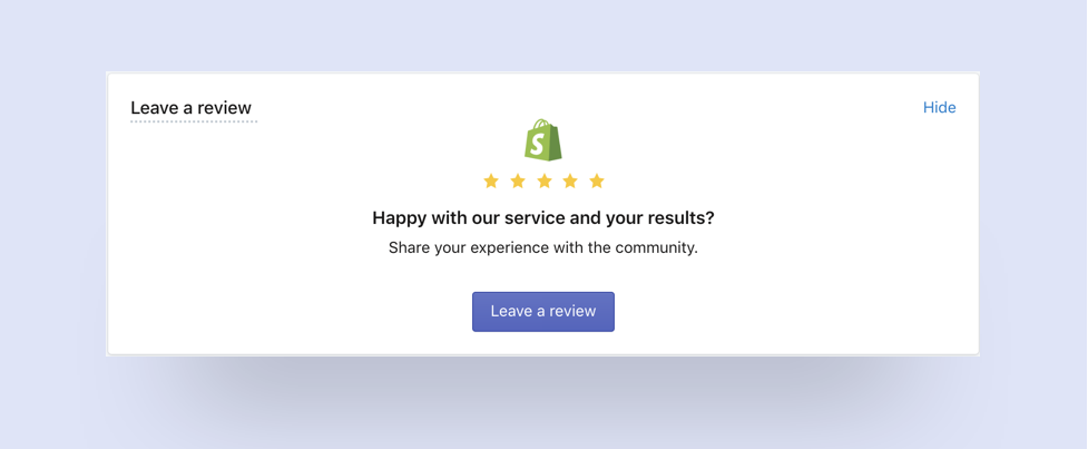 SMSBump Dashboard: Leave us a review in Shopify