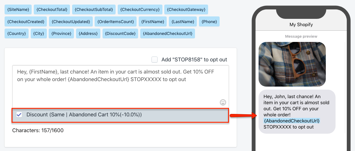Abandoned Checkout SMS Reminder with Personal Discount in Shopify