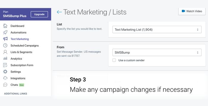 Adjust Repeat Campaign details.
