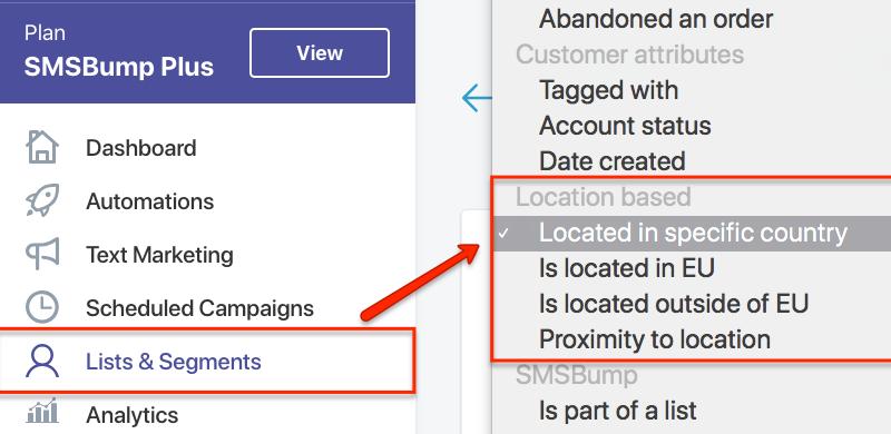 SMSBump Segments Location-Based Targeting