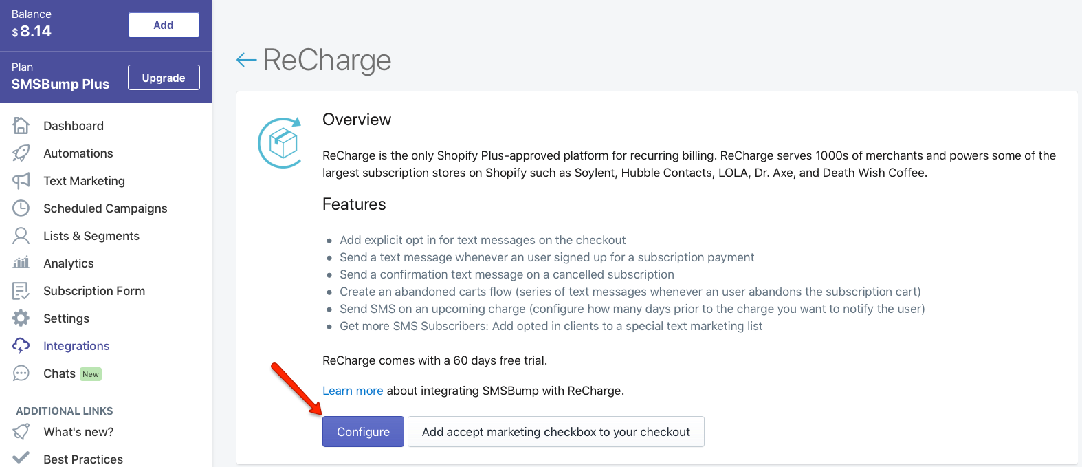 SMSBump: Configure ReCharge App in Shopify