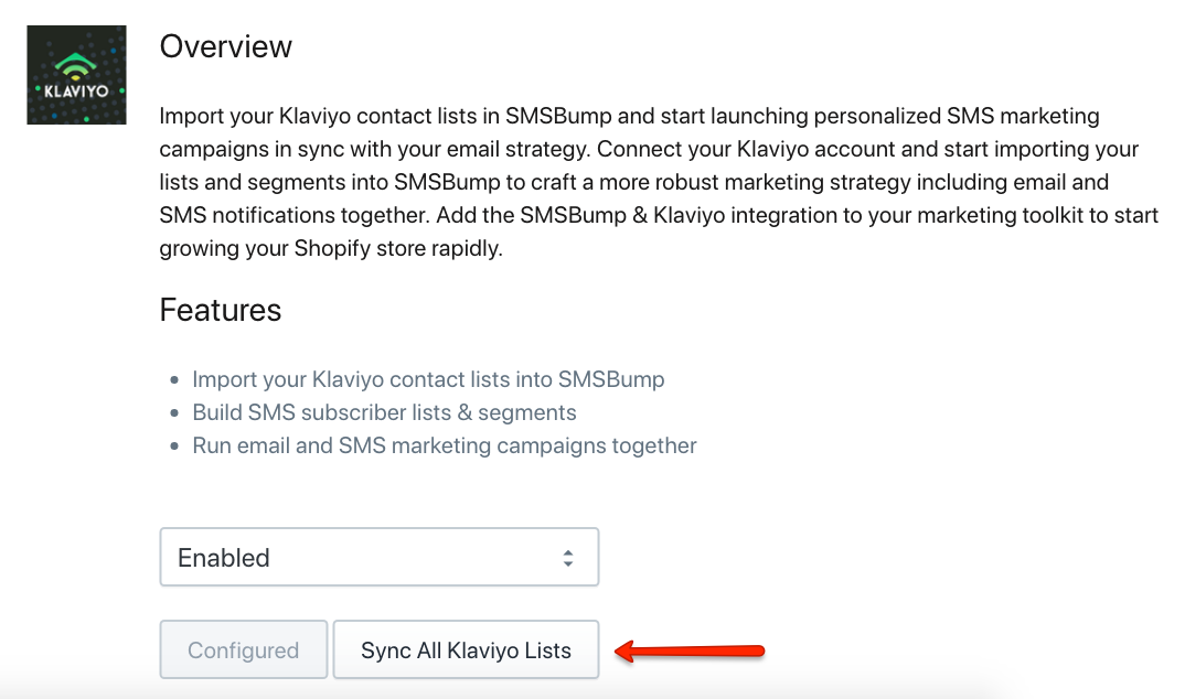 Sync Klaviyo Contacts with SMSBump in Shopify