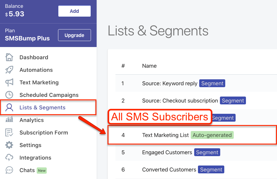 SMSBump Segments for SMS Marketing Personalization