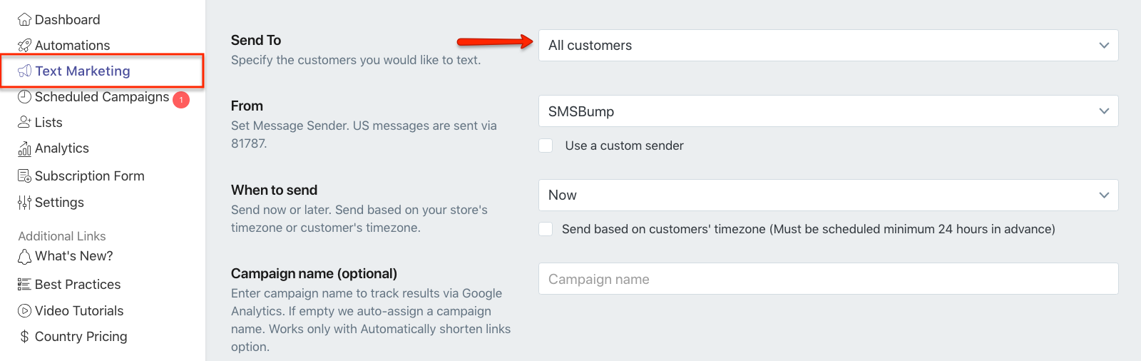 Send Text Marketing Campaign with Campaign Overview