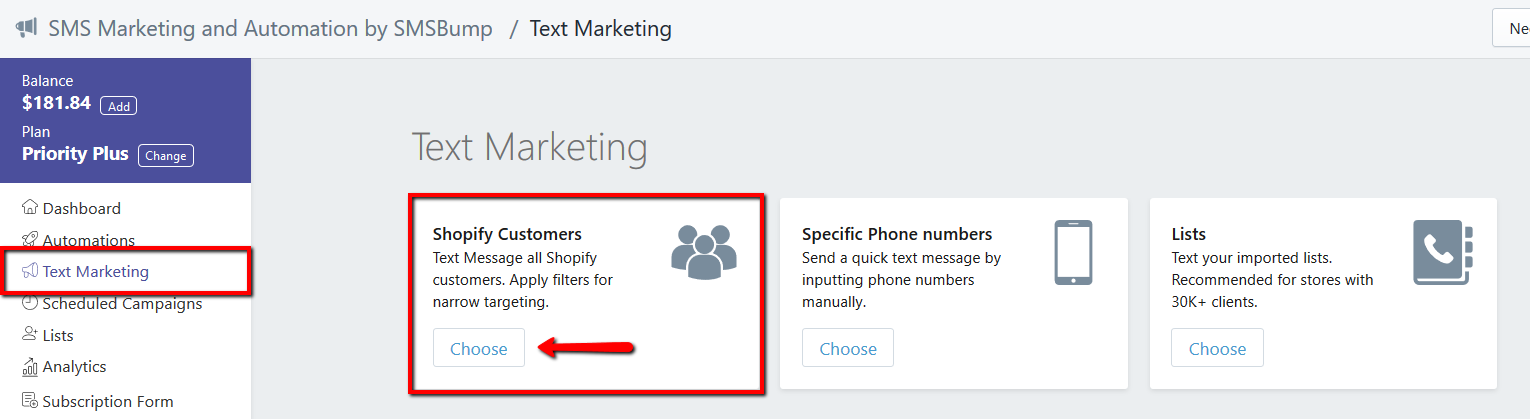 Send SMS Marketing Campaign to Custom Shopify Customers
