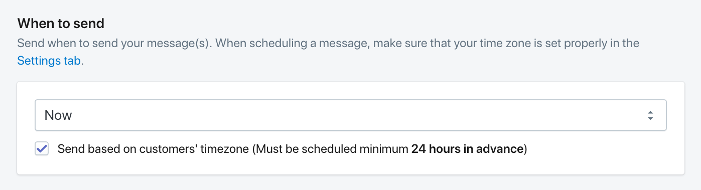 Select timezone scheduling for segmented SMS marketing campaigns in Shopify.