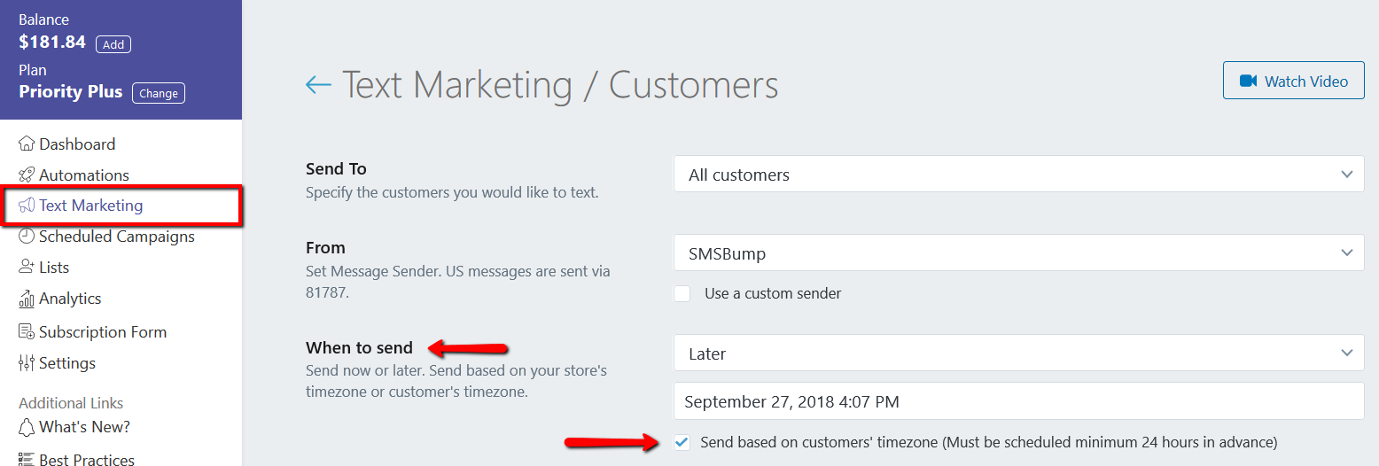 Enable Sending SMS Marketing Campaign for All Time Zones