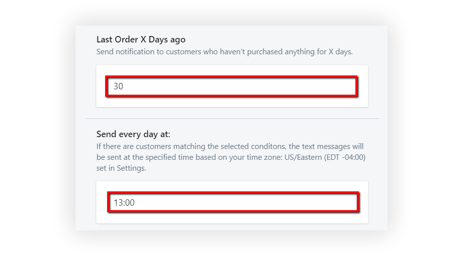 Select the timing of the Customer Winback Automation