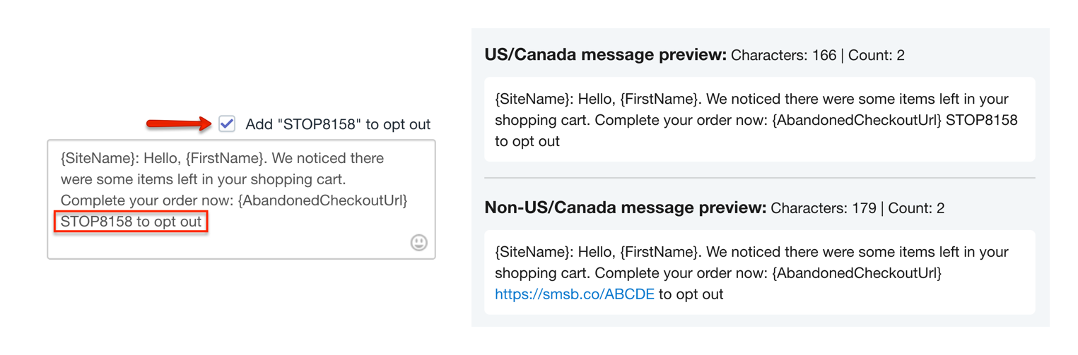 SMSBump Unsubscribe Options and STOP Keywords for Abandoned Cart SMS Automations in Shopify