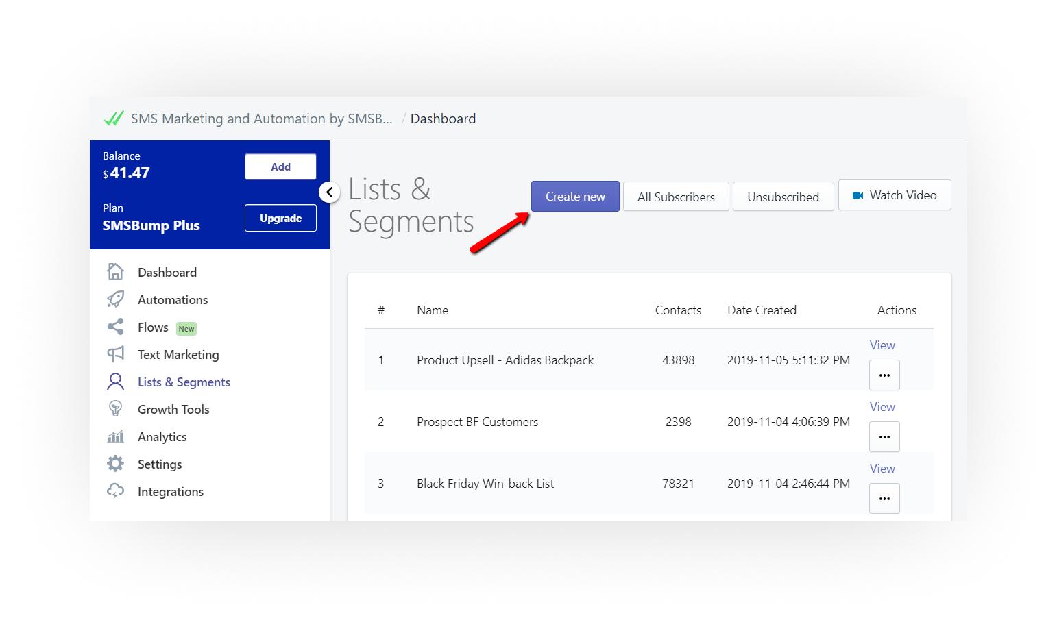 create_new_list_SMSBump