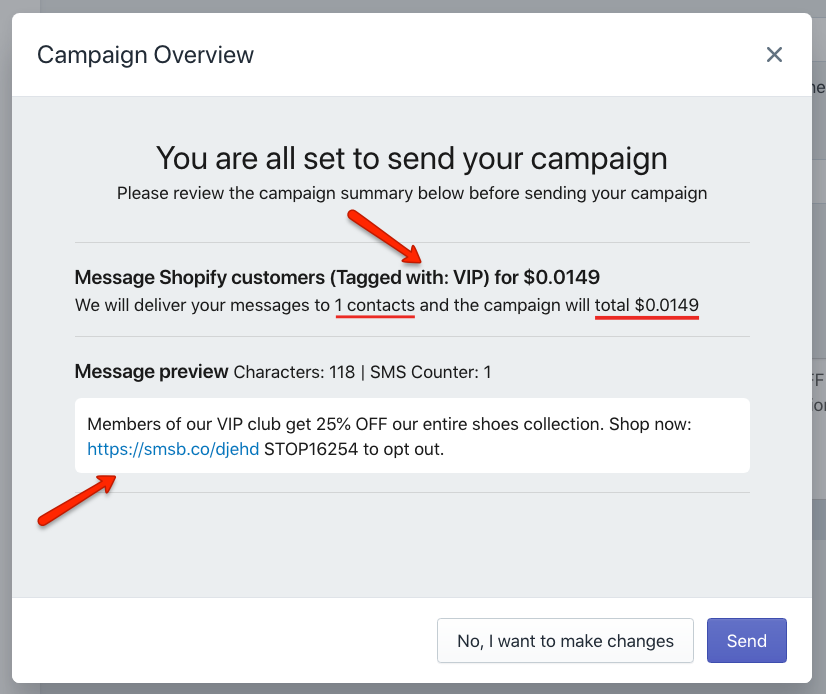 SMSBump Custom Shopify Customers Campaign Overview