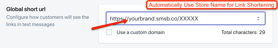 Automatic Branding for short links in SMSBump